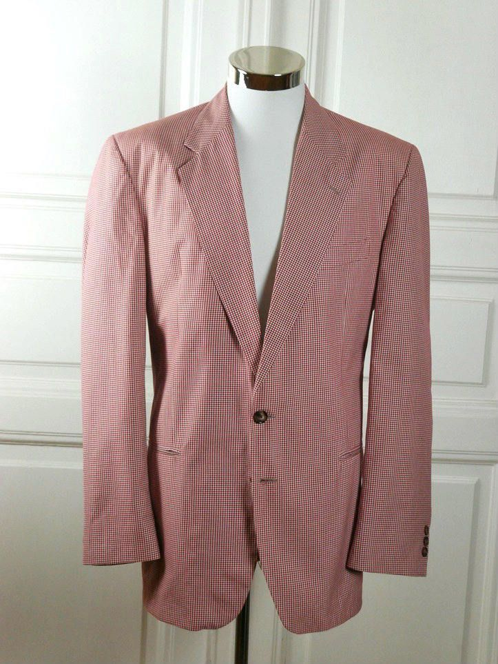 Italian Vintage Blazer, Red White Check, European Lightweight Jacket: Size 42 (US & UK) by YouLookAmazing on Etsy