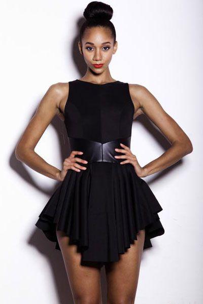Black Ruffles Skater Dress