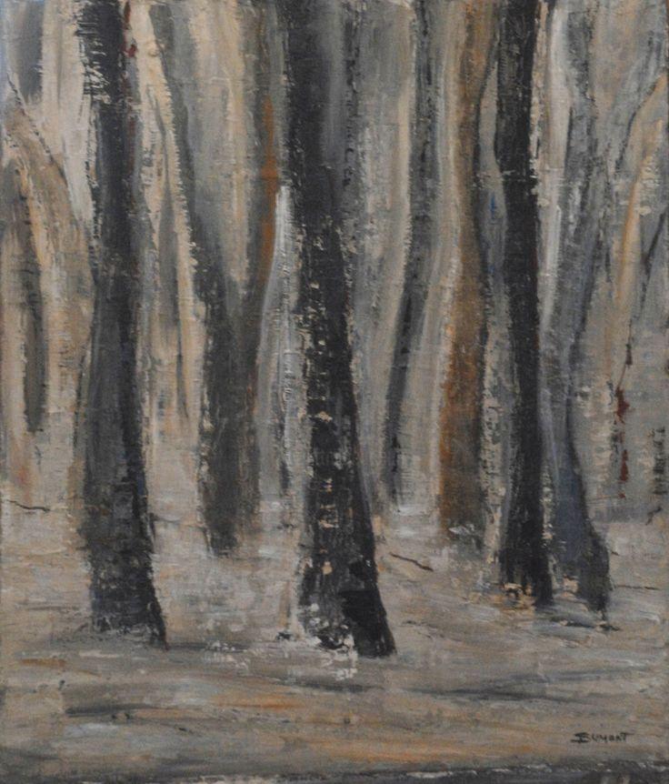 Dénuement (Peinture), 54 x 65 cm par Sophie Dumont. huile sur toile représentant une forêt
