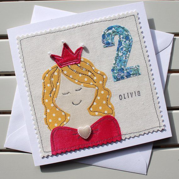 Childrens Princess Personalised Birthday Card Handmade Etsy Handmade Birthday Cards Old Birthday Cards Fabric Cards