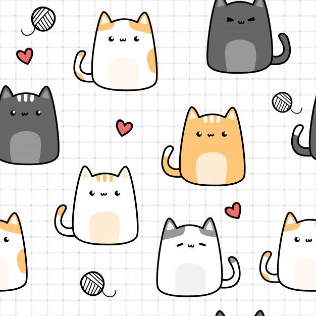 Cute Cat Kitten Cartoon Doodle Seamless Pattern On Grid Em 2020