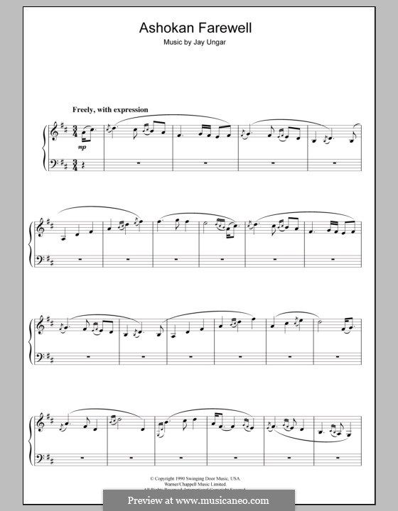 The Ashokan Farewell (from the TV series 'The Civil War'): For piano by Jay Ungar