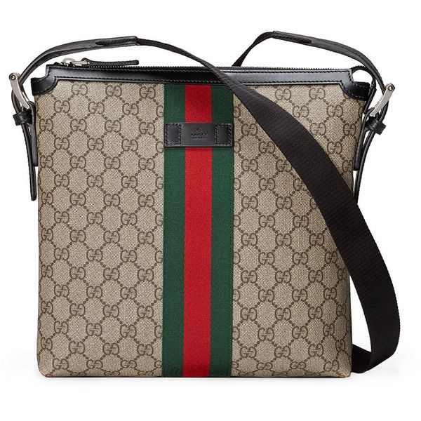 Gucci Web GG Supreme messenger (€660) ❤ liked on Polyvore featuring men's fashion, men's bags, men's messenger bags, brown, mens leather messenger bag, mens messenger bag, gucci mens messenger bag and mens brown leather messenger bag