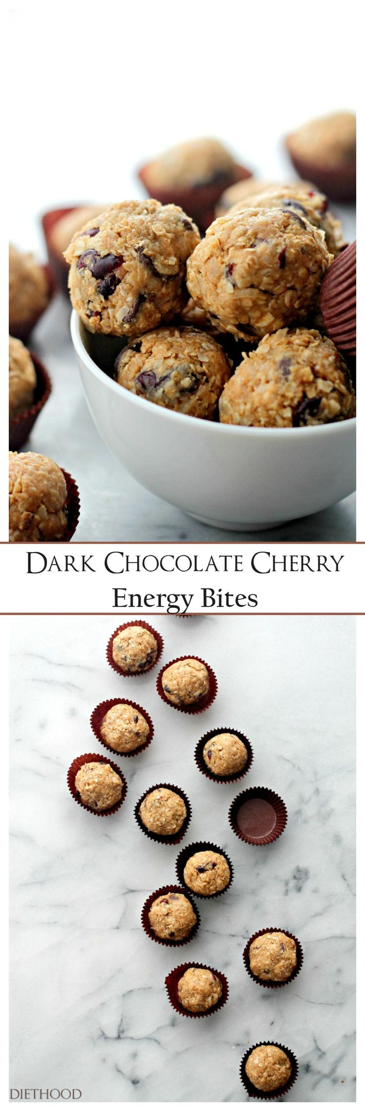 Dark Chocolate Cherry Energy Bites | www.diethood.com | Loaded with dark chocolate chips and dried cherries, these healthy cookie energy bites are sweet, delicious, and incredibly easy to make! AND you don't have to bake!