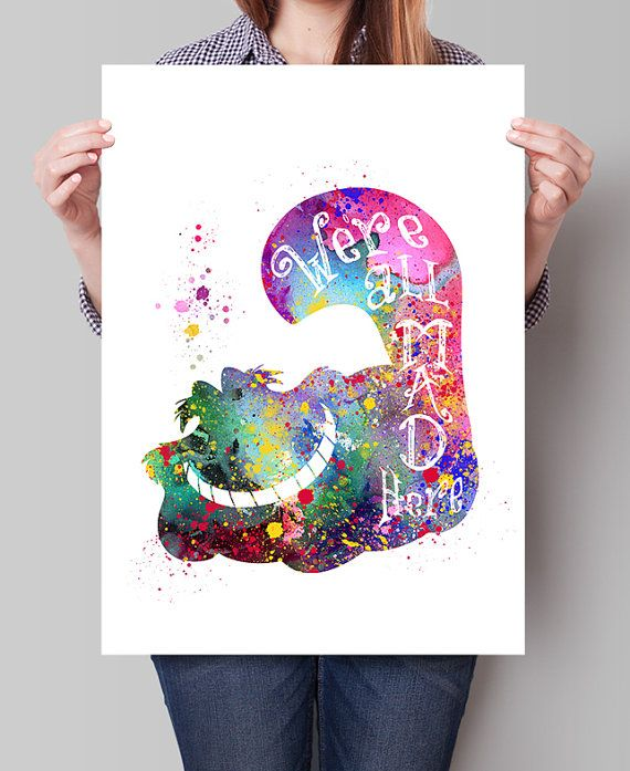 Alice in Wonderland Cheshire Cat Art Print Poster by FineArtCenter