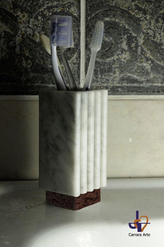 "#Bathroom  Sets ""Bernini"" in white Carrara marble.  Modern Toothbrush holder & Soap dish from refined design.   The white Carrara marble is a product of nature, every  Vanit... #carraraarte #housewares #bathroom #dailyetsysales"