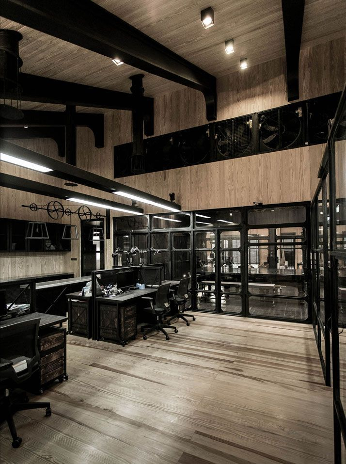 22 best rustic brick venues images on pinterest for Industrial office interior design