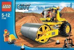 "Lego City Set #7746 Single-Drum Roller by LEGO. $34.99. Easy modular start for beginners. Assembled Single-Drum Roller vehicle measures 7"" (17cm) long!. Age 5-12. 208 pieces. Set includes 2 construction worker minifigures and accessories!. LEGO® City is always growing, and right now it needs new roads! With its massive drum, the construction roller flattens soil and asphalt to make safe roads for city vehicles to drive wherever they need to go. Roller drum spins to ..."