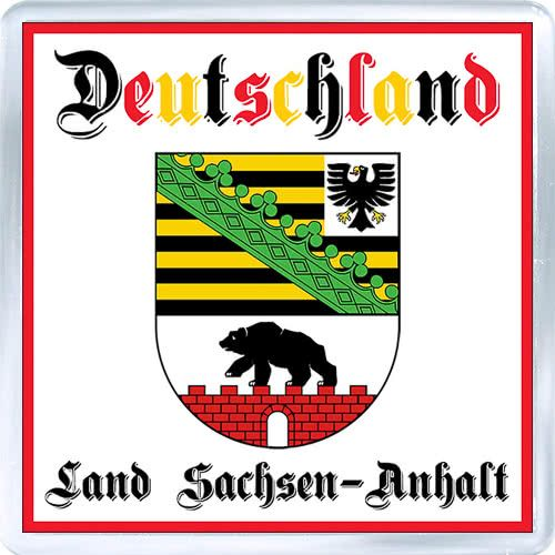 Acrylic Fridge Magnet: Germany. Coat of Arms of Saxony-Anhalt (Land Sachsen-Anhalt)