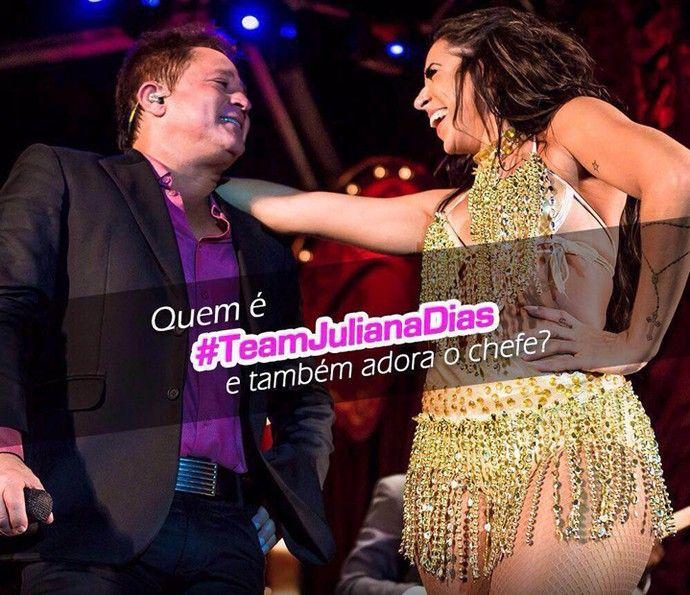 Leonardo e Juliana juntos no show: cantor é #teamJuliana na veia (Foto: Divulgação)