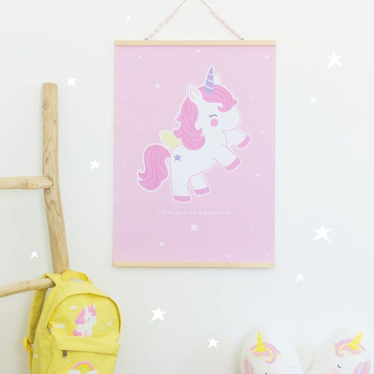 A Little Lovely Company Kinderzimmer Poster Einhorn Rosa 50x70cm