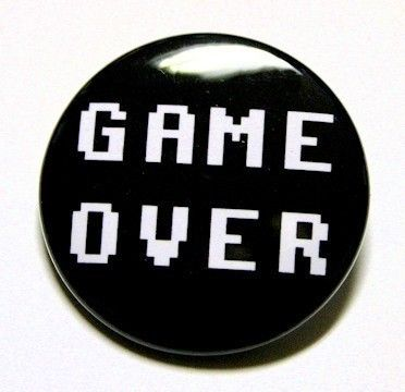 Game Over  Button Pinback Badge 1 1/2 inch by theangryrobot, $1.50
