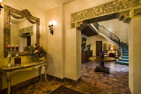 Spanish/Mediterranean style warm and inviting entry.  Spanish style home decor. Seattle highlands home.