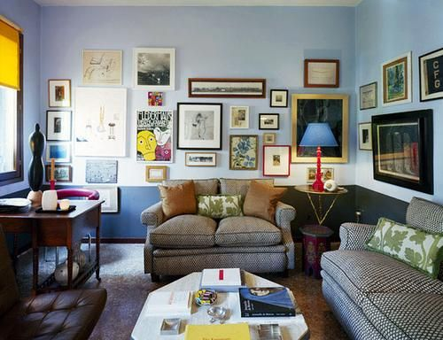 mismatched frame wall, clustered closely.