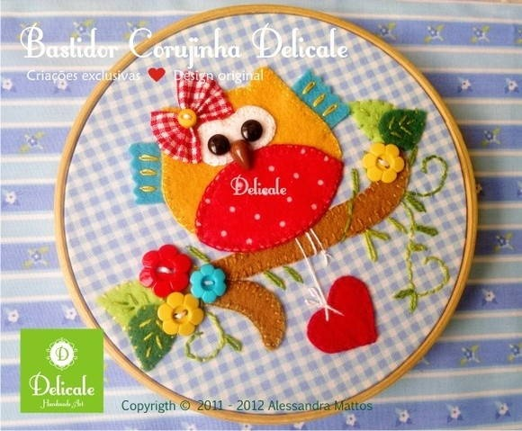 Colorful felt craft ~ Quadrinho Bastidor Corujinha ♥ by Delicale Handmade Art via elo7