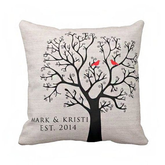 Personalized LOVE BIRDS Wedding Pillow Cotton Anniversary Gift Cotton and Burlap Pillow Cover Choose your Date