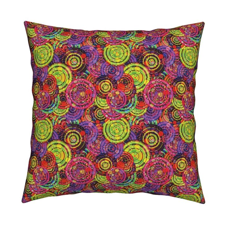 Catalan Throw Pillow featuring RAINBOW CANDY PARADISE pink currant chartreuse lime by paysmage   Roostery Home Decor