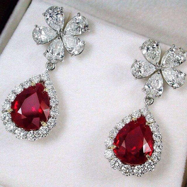 Burmese Pigeon's Blood Pear Shape Ruby weighing 4.02&4.15cts and 4.81cts with Diamonds Earrings #PrimaGems #Ruby #burma #pigeonblood #unique #diamond #earrings #Finejewelry #Jewelry