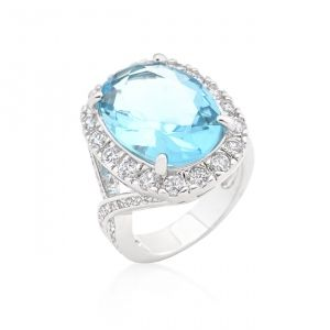 LYRA Prsten s modrým Zirkonem R08288R-C32 | Lyra-sperky.cz