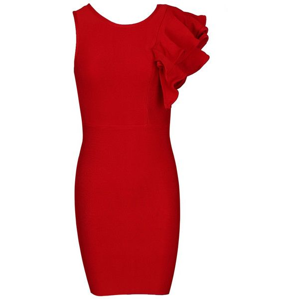 Asymmetric Ruffle Detail Bandage Dress Red ❤ liked on Polyvore featuring dresses, red dress, bandage dresses, red cocktail dress, bandage cocktail dresses and red bandage dress