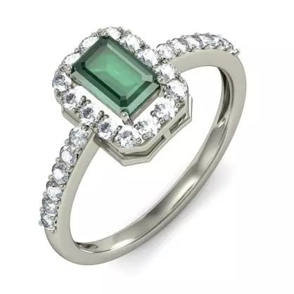 Emerald And Diamond Ring In 18Kt White Gold (3.007 gms) with Diamonds (0.3900 Ct)