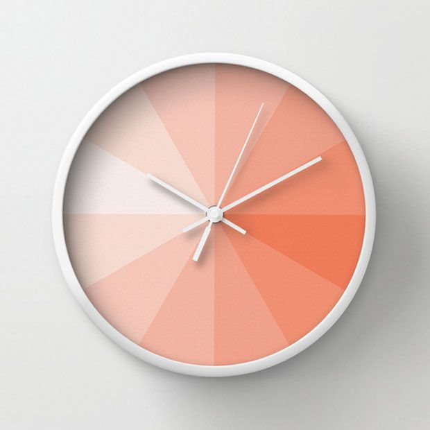 Coral Pantone Clock. This clock is awesome. Each segment is 5 minutes which is just visually so much better for telling the time. Genius!