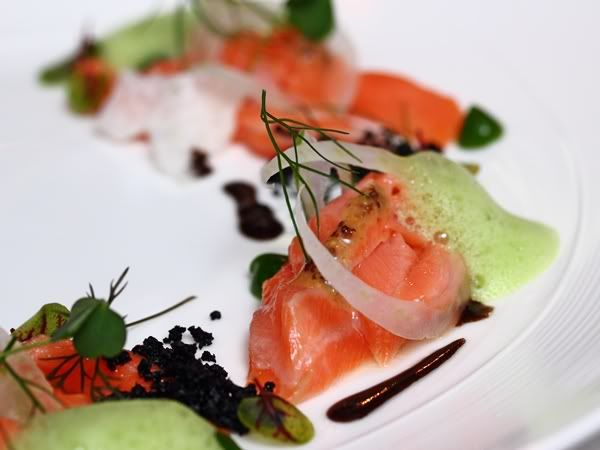 Olive Oil Poached Faroe Island Salmon with Favors of Fennel, Black Olive and Absinthe- Curtis Duffy at Senses.