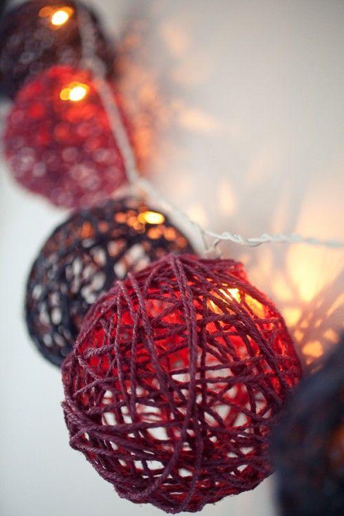 DIY Lichterkette, aus übrig geblieber Wolle, Bändern und Garnen ganz einfach individuell selbst gemacht