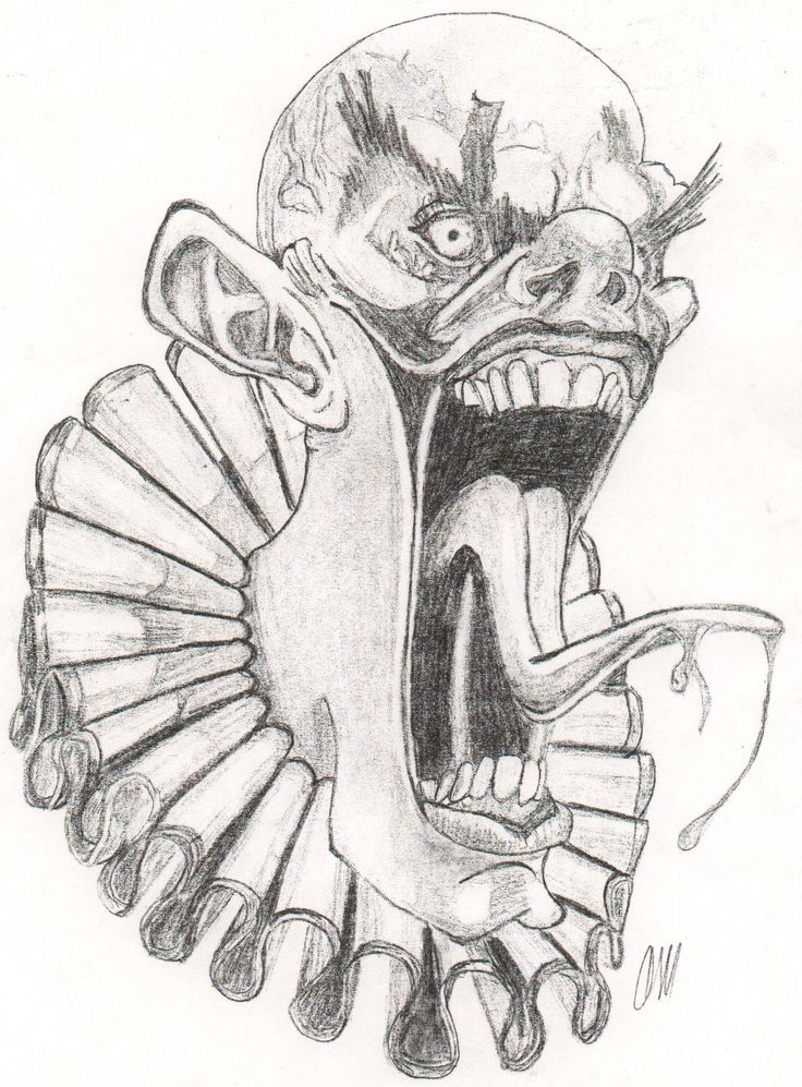 Scary Halloween Drawings Evil Clown By Cagedspirit