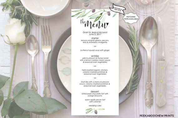 Wedding Dinner Menu Formal Dinner Menu Instant EDITABLE