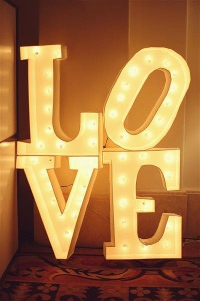 'Love' vintage marquee lights.