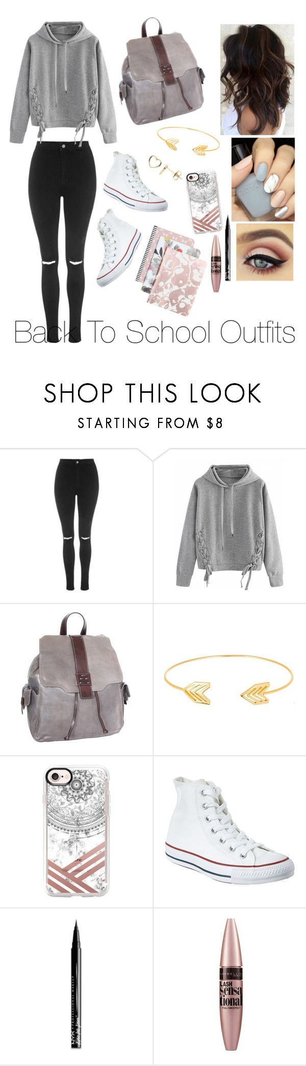 """""""Back To School Outfits #45"""" by gussied-up on Polyvore featuring Topshop, WithChic, Nino Bossi Handbags, Lord & Taylor, Casetify, Converse, NYX, Maybelline and Estella Bartlett"""