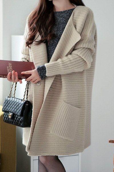 Beige vintage sweater dress woman sweater dress long sleeve sweater cape coat sweater --SW106