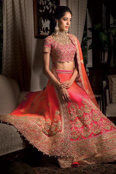 Bridal Lehenga - Pink and Orange Bridal Lehenga | WedMeGood | Pink Lehenga with Gold Dabka Embroidery, Orange Dupatta with Embroidery, Fully Embroidered Choli #wedmegood #indianbride #indianwedding #bridal #lehenga #pink #orange #embroidery