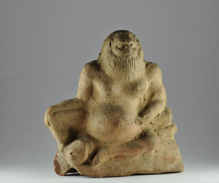 Roman grotesque statuette, Roman Silenus, 1st-2nd century A.D. Roman grotesque statuette. roman Egypt pottery figure of grotesque seated Silenus with large phallus, 12.5 cm high. Private collection
