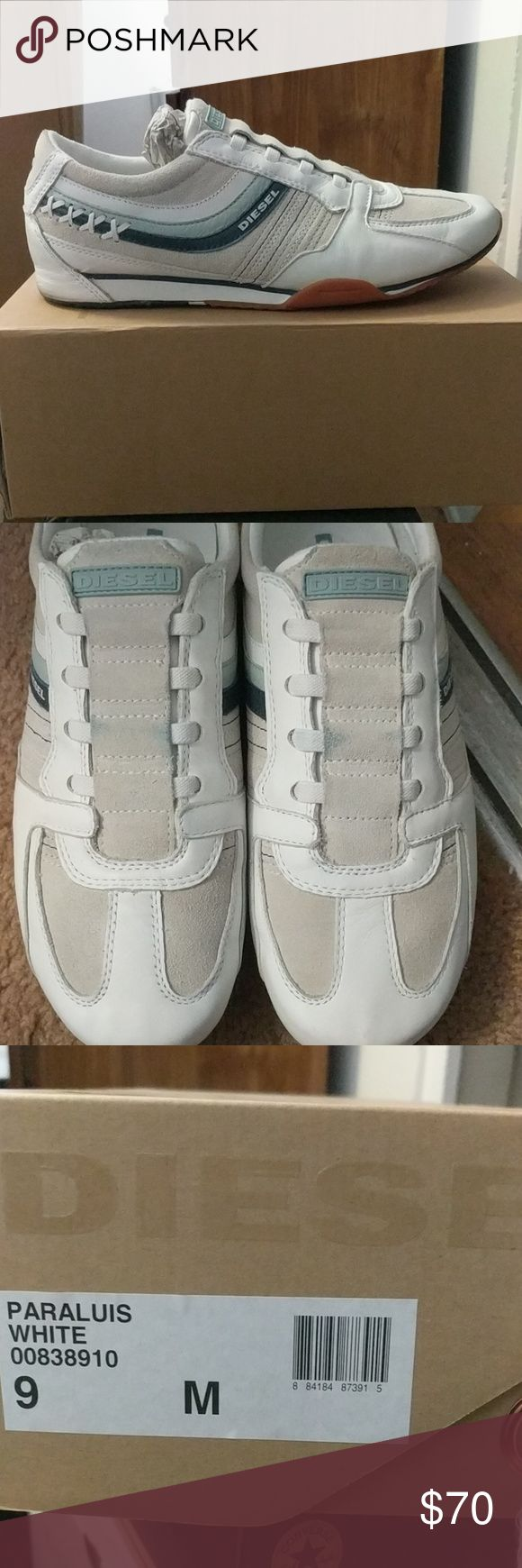 Mens Diesel shoes size 9 Paraluis White Mens Diesel shoes size 9 Paraluis White  Worn at most 3x with minor blue stain on top of the shoe. Diesel Shoes Sneakers