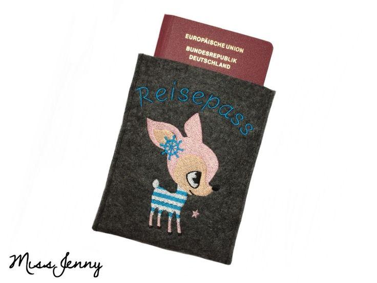 ♥ Reisepass-Hülle Wollfilz anthrazit HAFENKITZ ♥ von MissJenny auf DaWanda.com