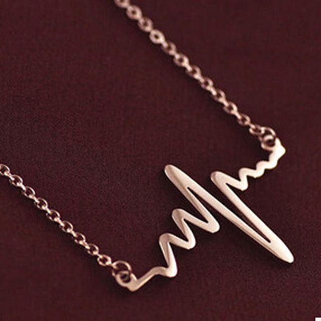 Простой Волны Сердце Ожерелья & Подвески Золото и Серебро Покрытием Сердцебиение Макси Стимпанк Ожерелье Винтаж Молнии Ожерелье X100