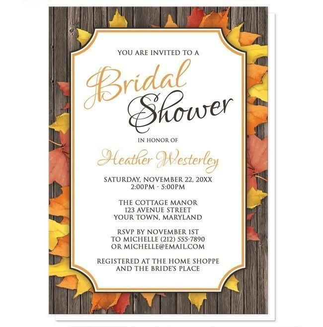 I wanted to share with you these Autumn Orange White Wood Bridal Shower Invitations? Do you like them?  | Autumn Bridal Shower invitations with your celebration details printed in orange and brown in a white frame, over Fall leaves spread out over a wood pattern background. This design combines rustic country elements with modern frame lines and fonts. These invitations, in orange and brown, are perfect for your Autumn Bridal Shower celebrations, but can also be worded for other events and…