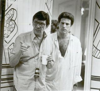 Leonard Nimoy directing Ted Dansen on Three Men and a Baby.
