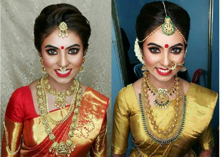 South Indian bride. Gold Indian bridal jewelry.Temple jewelry. Jhumkis.Red and gold silk kanchipuram sari.Braid with fresh jasmine flowers. Tamil bride. Telugu bride. Kannada bride. Hindu bride. Malayalee bride.Kerala bride.South Indian wedding.