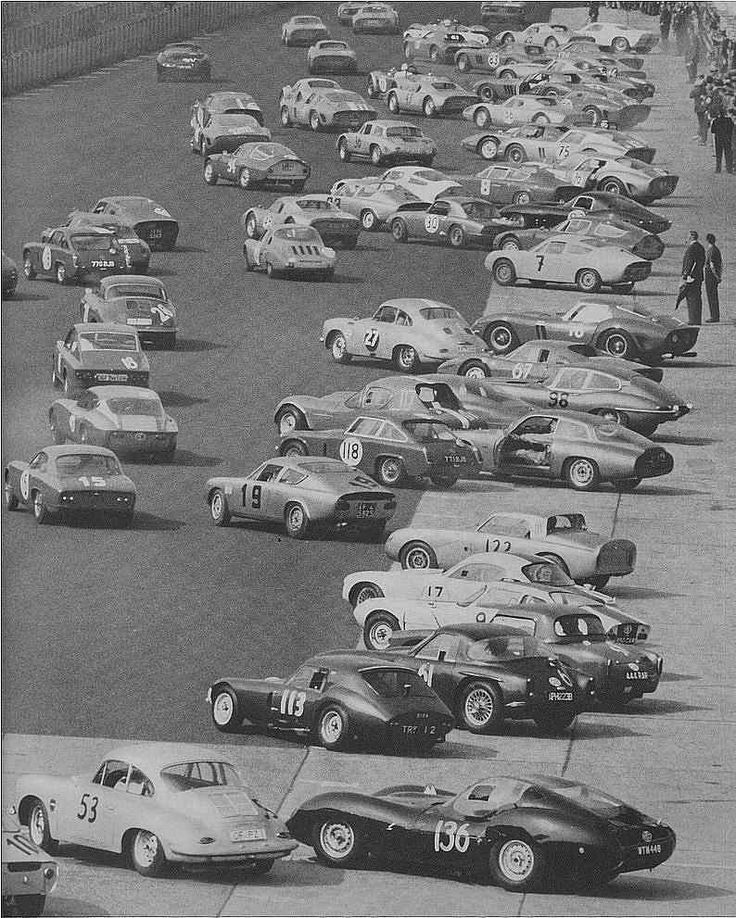 1000 Km Nürburgring, 1964: The field is stunning in its range. Ferrari 250 GTOs(#75,76, + several others, including two series 2s), varied Abarths(19, 7 etc), a Lotus Elite(15, 17), a Lotus 26R(30), a Marcos(117), Diva GT(113), TVR(61), Porsche 356s, 904s, an Alfa Romeo Sprint Zagato Long-Tail(with door open), Tubolare Zagato, several Lenham bodied MGs, what I think is a Lister(136), and and a Glas GT?(18). 122 is unknown to me. The car obscured by the Marcos may be a Matra-Bonnet Aerojet.