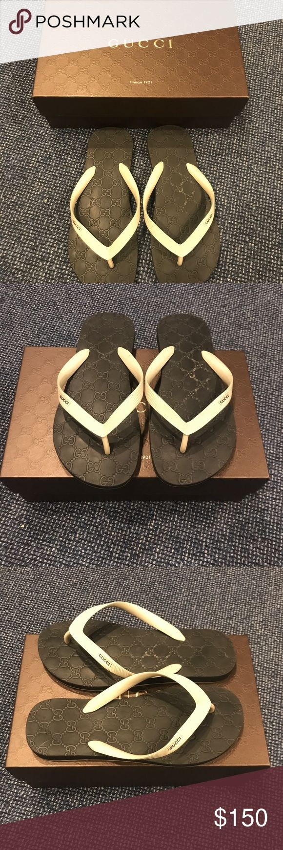 Gucci Men's GG Rubber Flip Flops With Box - Sz 9.5 Gucci Men's Rubber Flip Flops With Box -  Men's Black & White Rubber Thong Style Flip Flops with classic GG print.  Size 9.5 Gucci Shoes Sandals & Flip-Flops