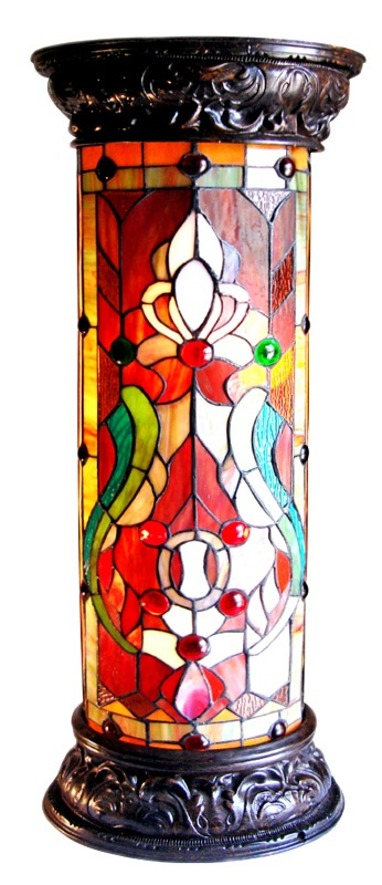 Stained glass using red really jumps off out of the rest of the cut glass
