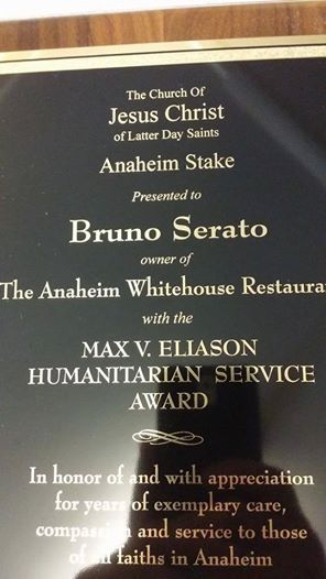 Chef Bruno given an award by the Church of Jesus Christ of Latter Day Saints