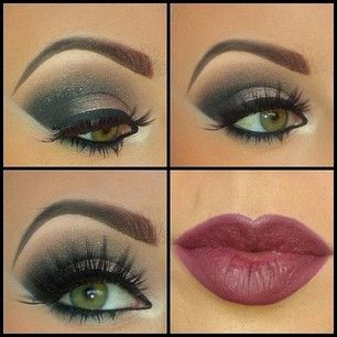 Gray Eyes with Plum Lipstick