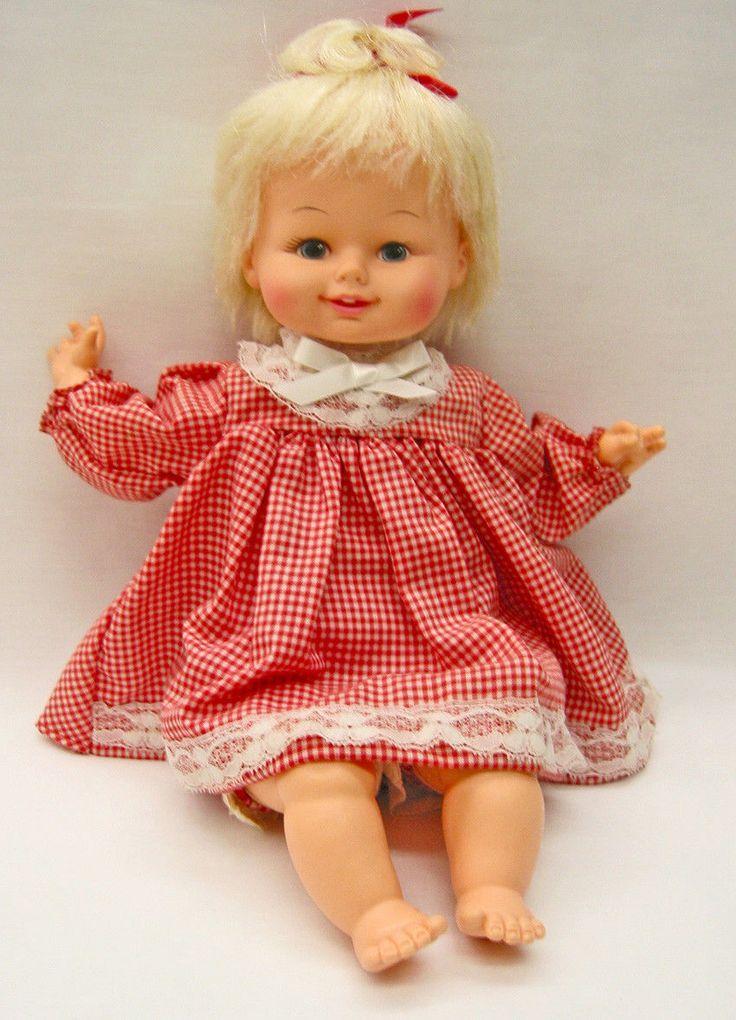 "EA210 Vintage Horsman 16"" Baby Doll, 1976 cloth body, great hair, cute dress | eBay"