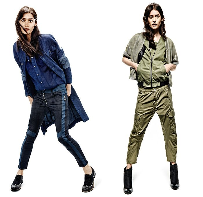 G-Star RAW 2014 Summer Womens Denim Jeans Collection - Amsterdam The Netherlands - Black Cropped Vest Waistcoat Gilet Destroyed Destructed Asymmetrical Triple Denim Double Denim Full On Denim Hoodie Tuxedo Stripe Outerwear Coat Jacket Cargo Pockets Bomber Jacket Frayed Roll Up Fold Shorts Camouflage Quilted Waffle Metallic