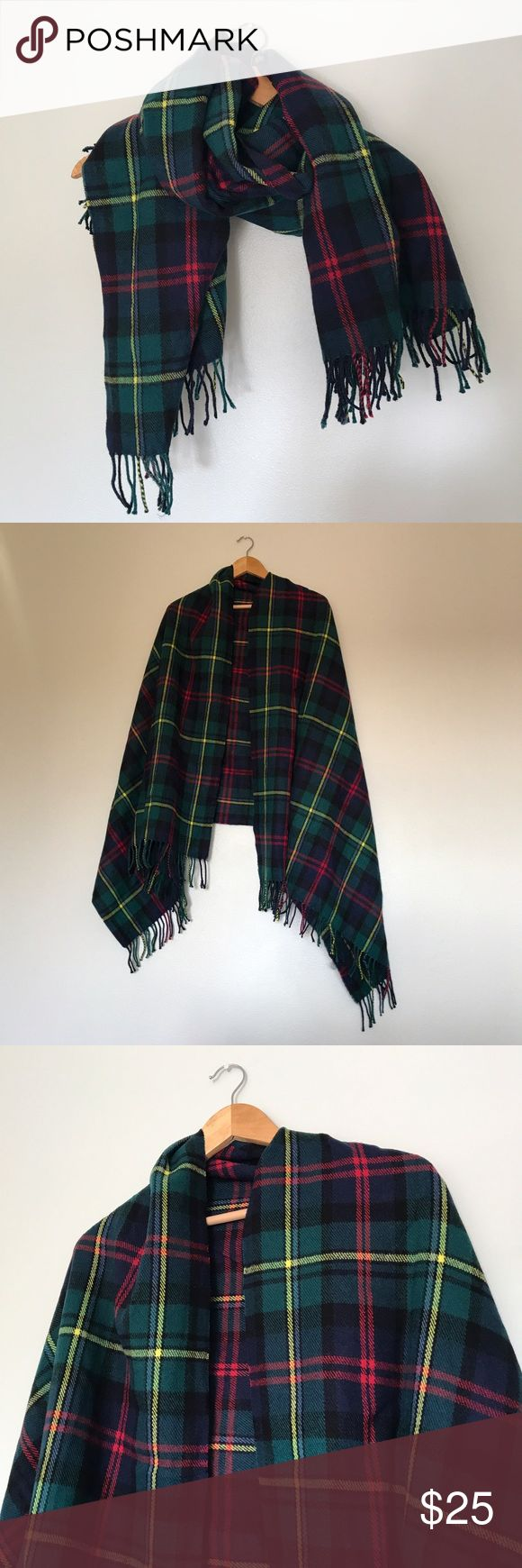 NWOT Green/Yellow/Red Plaid Blanket Scarf NWOT Green/Yellow/Red Plaid Blanket Scarf by Merona. NEVER WORN. I love this plaid scarf so much, but doesn't have any purpose in my CA closet. I hope someone else can love it and get some use out of this lovely and COMFY blanket scarf! :) Merona Accessories Scarves & Wraps