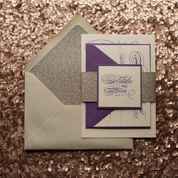 BIANCA Suite Glitter Package, Glitter Wedding Invitations, Purple And  Champagne Wedding, Letterpress Wedding Invitations, Digital Wedding  Invitations, ...
